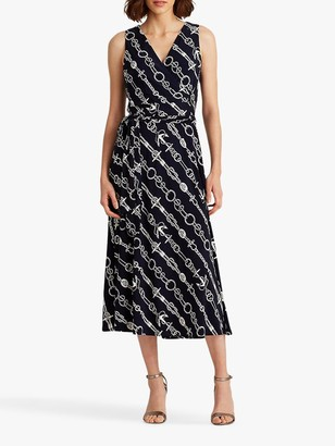 Ralph Lauren Ralph Carlyna Sleeveless Chain Print Midi Dress, Lighthouse Navy/Colonial Cream