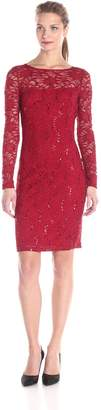 JS Collections Women's Long Sleeve Illusion Lace Dress
