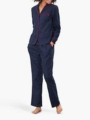 Joules Caitlin Star Cotton Pyjama Set, Navy