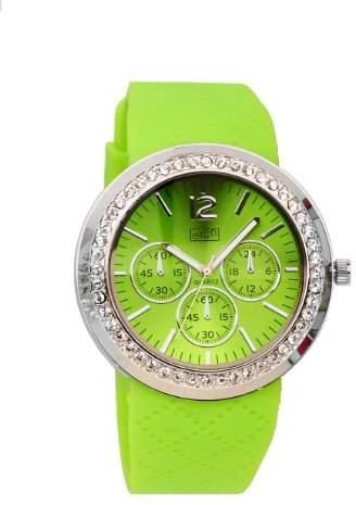 Eton Ladies Diamante Case Lime Patterned Silicon Strap Watch 2927-3, Low Nickel