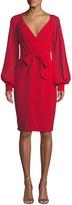 Badgley Mischka V-Neck Blouson-Sleeve Faux-Wrap Cocktail Dress