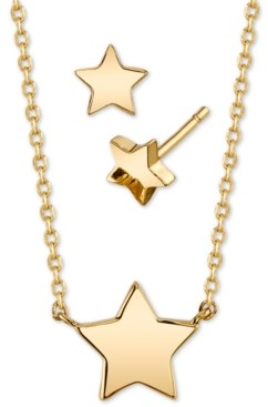 Unwritten 2-Pc. Set Mini Star Pendant Necklace & Matching Stud Earrings in Gold-Tone Fine Plated Silver, Created for Macy's