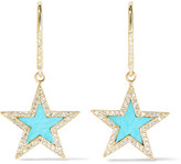 Jennifer Meyer 18-karat Gold, Turquoise And Diamond Earrings - one size