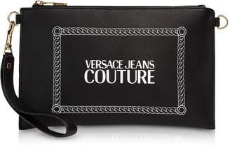 Versace Black and White Signature Wallet Clutch w/Shoulder Strap