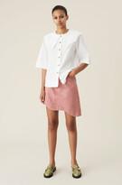 Thumbnail for your product : Ganni Pink Denim High-waisted Asymmetrical Mini Skirt