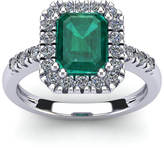 FireFacet 2 CT TW Octagon-Cut Emerald and Diamond 14K White Gold Halo Ring