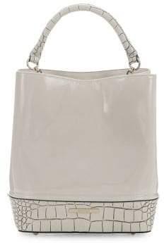 Brahmin Ivory Benett Amelia Leather Bucket Bag