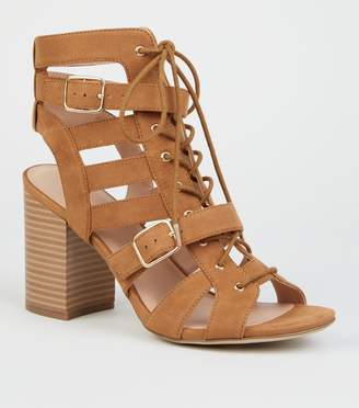 New Look Suedette Lace Up Gillie Block Heels