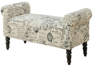 Monarch Specialties Traditional Style Vintage-Inspired French Fabric Bench