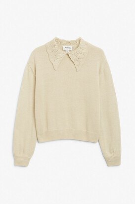 Monki Knit sweater with crochet collar