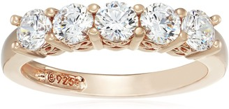 Amazon Collection Yellow-Gold-Plated Sterling Silver Round-Cut 5-Stone Ring made with Swarovski Zirconia (1.25 cttw) Size 6