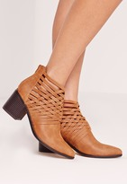 Missguided Woven Detail Pointed Toe Ankle Boot Tan