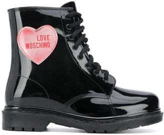 Love Moschino Heart Patch Combat Boots
