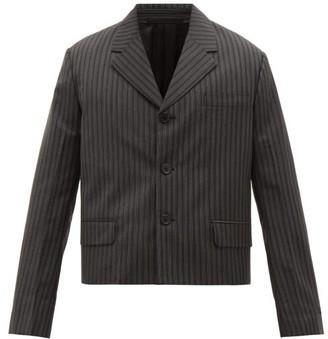 Prada Single-breasted Pinstriped Wool-blend Blazer - Mens - Grey