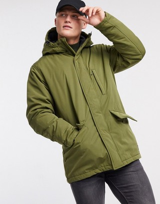 Levi's woodside utility hooded parka jacket in olive night