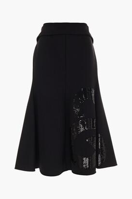 Victoria Beckham Sequin-embellished Crepe Midi Skirt