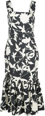 Oscar de la Renta Floral Print Ruffle Hem Dress