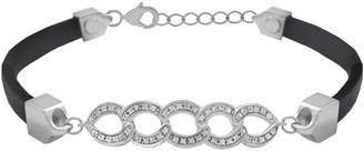 Savvy Cie Sterling Silver Pave Diamond Link Leather Bracelet - 0.10 ctw