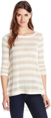 LAmade Women's Pointell Stripe Slub Tunic Top