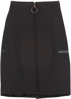 Off-White Stretch Pencil Skirt With Zip