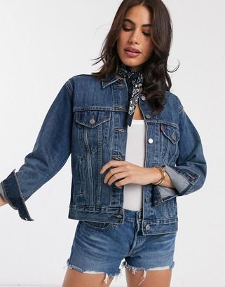 Levi's Groovemarks ex-boyfriend denim trucker jacket in blue