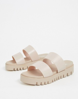 BEIGE ASOS DESIGN Fletch chunky jelly flat sandals in