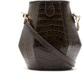 Framed crocodile-embossed bucket bag