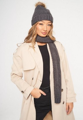 Missguided Gray Cable Knit Hat And Scarf Set