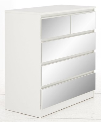 Crystal Mirrored 2 + 3 Drawer Chest with Crystal Strip Detail