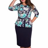 QIYUN.Z Women OL Floral Print 3/4 Sleeve Tunic Knee Length Dress Plus Size L-6XL