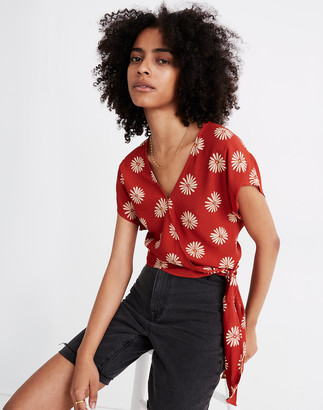 Madewell Sash-Tie Wrap Top in in Daisy Daydream