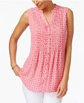 Charter Club Print Sleeveless Shirt, Only at Macy's
