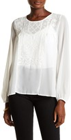 Lucky Brand Solid Embroidered Peasant Top