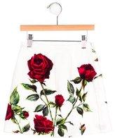 Dolce & Gabbana Girls' Rose Print A-Line Skirt
