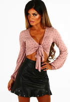 Pink Boutique Frill Time Black Faux Leather Studded Frill Mini Skirt