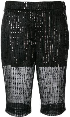 we11done sheer sequin bike shorts