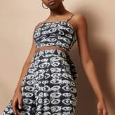 River Island Womens Black Design Forum eye print cami crop top