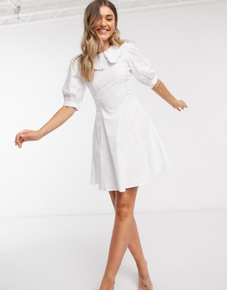 ASOS DESIGN cotton poplin nipped in waist skater dress with peter pan frill collar in white