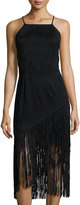 Alexia Admor Sleeveless Faux-Suede Fringed Dress, Black