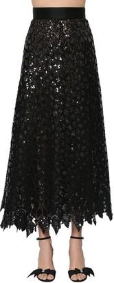 Marc Jacobs Micro Sequins Embellished Leaf Skirt