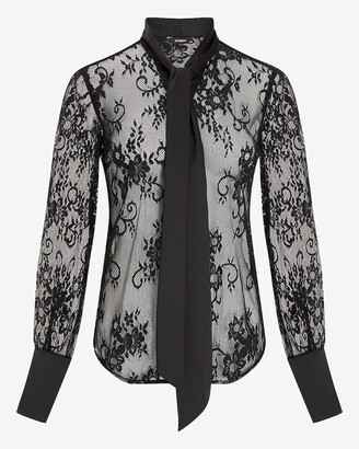 Express Sheer Lace Tie Neck Shirt