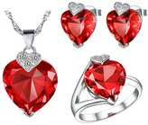 Babao Jewelry Jewelry Sets Babao Jewelry Sweet Red Heart 18K Platinum Plated Cubic Zirconia Crystals Pendant Necklace Earrings Set Ring Size 7