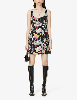 Reformation Noha printed crepe mini dress