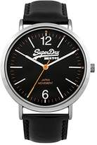 Superdry Men's 'Oxford' Quartz Brass-Plated-Stainless-Steel and Leather Dress Watch, Color:Black (Model: SYG194B)