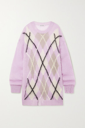 Acne Studios Oversized Distressed Argyle Knitted Sweater - Lilac