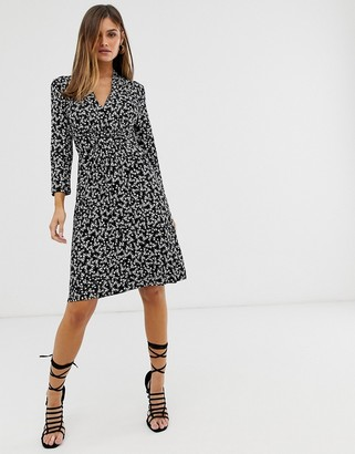 French Connection v-neck jersey floral midi dress