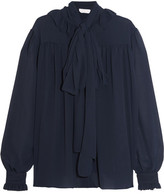 See by Chloe Pussy-bow Chiffon Blouse - Navy