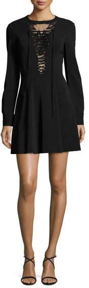 A.L.C. Wares Long-Sleeve Ponte Lace-Trim Dress, Black