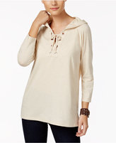 Style&Co. Style & Co Style & Co Petite Lace-Up Hoodie, Created for Macy's