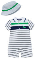 Little Me Babys Two-Piece Striped Romper and Hat Set